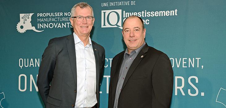 Photo de Pierre Gabriel Côté, président-directeur général d'Investissement Québec, et de Marc Savard, président de la Fonderie Saguenay