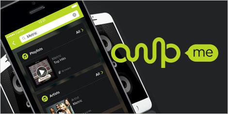Illustration de téléphones portables et logo d'AmpMe