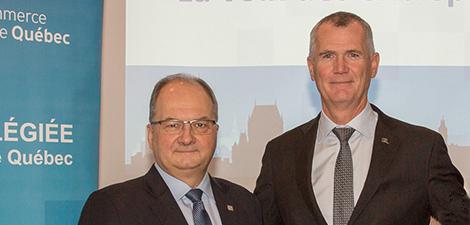 Photo d'Alain Aubut, président de la Chambre de commerce et d'industrie de Québec, et Pierre Gabriel Côté.