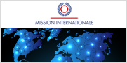 International Mission logo and illustration of a world map