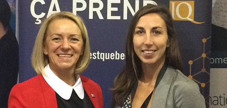 Lucie Beaulieu, Investissement Québec, and a MESI representative, at BioMarine Rimouski 2017