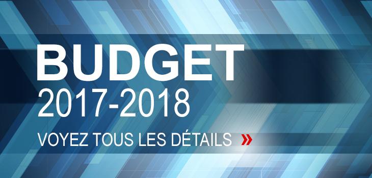 Illustration indiquant « Budget 2017-2018. Voyez tous les détails »