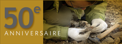 Photo d'un explorateur minier et texte indiquant le 50e anniversaire de SOQUEM
