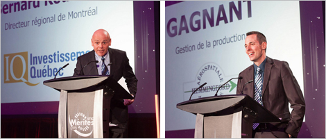 À gauche: Photo de Bernard Rousseau, directeur régional, Investissement Québec. À droite: Photo de Jean-François Garand, directeur des opérations d'Aérospatiale Hemmingford, au Gala les Mérites STIQ 2015