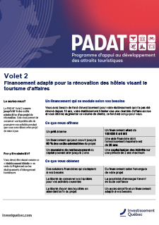 Couverture du document PADAT - Financement adapté visant les attraits touristiques