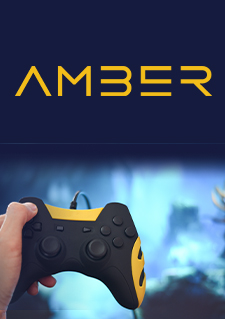 Image of a hand holding a video game controller accompanied by Amber's logo