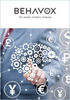 Illustration montrant un homme en arrière-plan avec des engrenages et des symboles représentant des devises et logo de Behavox accompagné d'un texte indiquant « The people analytics company. »