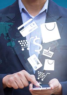 Illustration montrant un homme utilisant un téléphone intelligent pour effectuer des paiements ou des transferts de fonds partout dans le monde