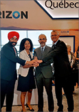 Photo of Navdeep Singh Bains, Canadian Minister of Innovation, Science and Economic Development, Dominique Anglade, Québec Minister of the Economy, Science and Innovation, Yann Delabrière, Chairman of the Board of Management of Zodiac Aerospace, and Pierre Gabriel Côté, President and CEO of Investissement Québec.