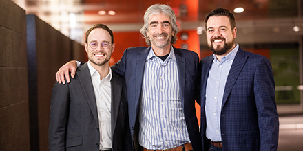 From left to right on the photo: Nicolas Lauzon, Senior account manager, Venture capital, Investissement Québec; Tom Rand, Managing Partner and cofounder, ArcTern Ventures and Benoît M Leroux, Senior Director, Venture capital, Investissement Québec