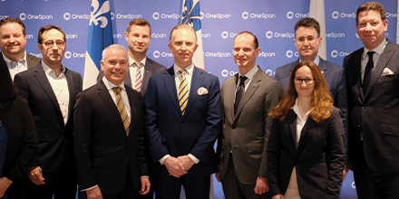 On the photo: Sylvain Masounave, Global VP R&D, Onespan, Stéphane Paquet, vice-président, Investissements étrangers & Organisations internationales, Montréal International, Philippe Tomlinson, maire de l'arrondissement Outremont et représentant de la mairesse de Montréal, Scott Clements, PDG, Onespan, Éric Girard, ministre des Finances et ministre responsable de la région de Laval, Mourad Debbabi, Professor, Concordia Institute for Information Systems Engineering, NSERC/Hydro-Québec/Thales Industrial Chair in Smart Grid Security and Tier I Concordia Research Chair in Information Systems Security, Gabriela Nicolescu, Full Professor, Department of Computer Engineering and Software Engineering, Hubert Bolduc, président, Investissement Québec International