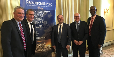 From left to right: Amyot Choquette, Senior Director, Mines - Quebec, Ressources Québec, Paul Buron, Executive Vice-President, Government Mandates and Programs Management, Investissement Québec, Jonatan Julien, Minister of Energy and Natural Resources, Denis Williams, Senior Director, Mines - Montréal, Ressources Québec, and Iya Touré, Vice-president, Ressources Québec.