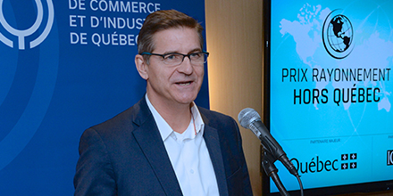 Photo of Luc Régnier at the unveiling of the finalists of the Québec International Impact Awards