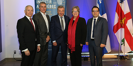 From left to right : Stéphane Paquet, Vice President, Foreign Investments & International Organizations, Montréal International, Paul Buron, Executive Vice-President, Government Mandates and Programs Management, Investissement Québec, Pierre Schroeder, President and CEO, TradingScreen, Chantal Rouleau,  Minister for Transport, Minister for Transport Minister Responsible for the Metropolis and the Montréal Region, and Robert Beaudry, Elected Head of Economic Development and Government Relations at the Montreal Executive Committee.