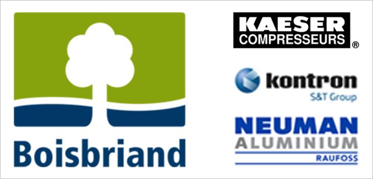 Image incluant les logos de la ville de Boisbriand et des entreprises Kaeser Compresseurs, Kontron et Raufoss