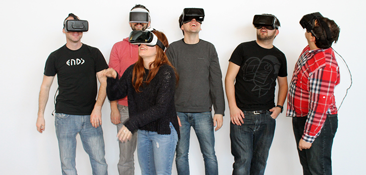 Photo of people wearing virtual reality glasses