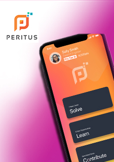 Photo of a cell phone including the Peritus.ai application