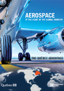 Image of an aircraft and a map of the world accompanied by a text stating Aerospace at the Heart of the Global Industry,The Québec Advantage