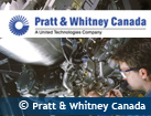 Photo of a man looking at an engine. Pratt & Whitney Canada