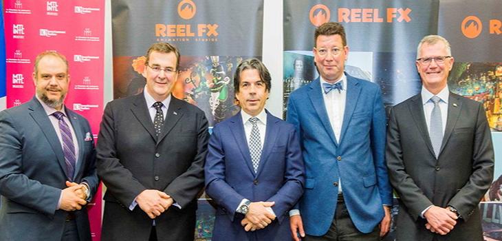 De gauche à droite: Benoît Dorais, , président du comité exécutif de la Ville de Montréal, François Blais, ministre de l'Emploi et de la Solidarité sociale, Steve O'Brien, président et chef de la direction de Reel FX, Hubert Bolduc, président-directeur général de Montréal International et Pierre Gabriel Côté, président-directeur général d'Investissement Québec.