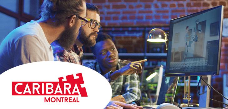 Photo d'employés travaillant avec un ordinateur et logo de Caribara Montréal