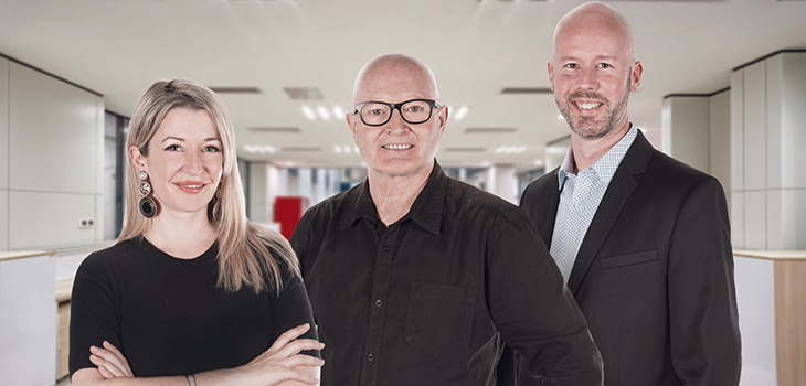 On the photo : Marie-Andrée Lavoie, Talent management consultant, André Roy, General Manager and Guillaume Roy, Executive Director, Technology