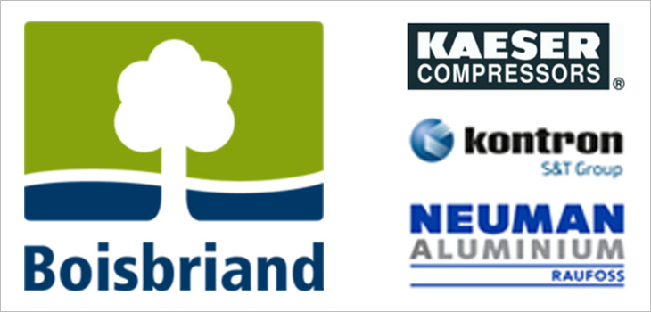 Image including the logos of the city of Boisbriand and the companies Kaeser Compressors, Kontron and Raufoss.