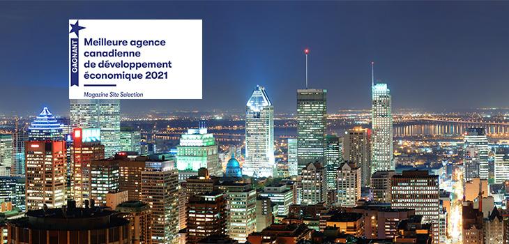 Photo de la ville de Montréal avec la mention Meilleure agence canadienne de développement  économique 2021
