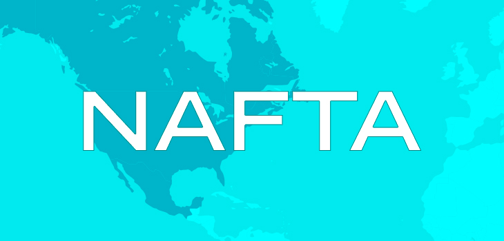 North America map in background and word NAFTA