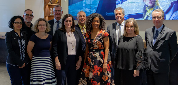 Back (from left to right): Mr. Mike McGee, Mr. Pierre Gabriel Côté, Mr. Mario Bouchard and Mr. Paul Buron. Front (from left to right): Ms. Zoubida Abdelkader, Ms. Mel Sullivan, Ms. Chloë Grysole, Ms. Dominique Anglade, Ms. Lucy Killick and Mr. John Coleman.