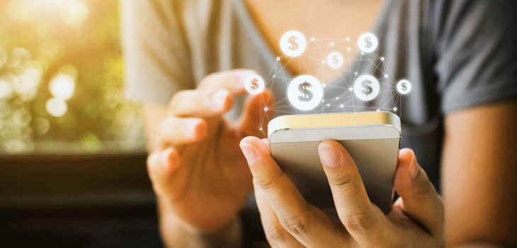 FinTech Mtl 2018 - Photo of a person using a financial app on a smartphone