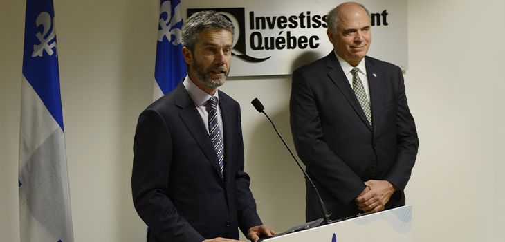 Photo of Mr. Guy Leblanc, new CEO of Investissement Québec, with Mr. Pierre Fitzgibbon, Minister of Economy and Innovation
