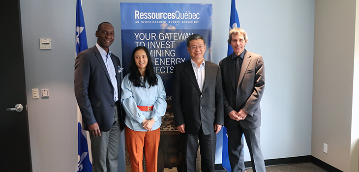 Meeting with Chinese company NEOTEC. From left to right: Iya Touré, Ressources-Québec, Liqing Zhang, CEO, NEOTEC, Vincent Li, NEOTEC, and Michel Gilbert, Interim CEO, SOQUEM