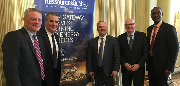 From left to right: Amyot Choquette, Senior Director, Mines - Quebec, Ressources Québec, Paul Buron, Executive Vice-President, Government Mandates and Programs Management, Investissement Québec, Jonatan Julien, Minister of Energy and Natural Resources, Denis Williams, Senior Director, Mines - Montréal, Ressources Québec, and Iya Touré, Vice-president, Ressources Québec
