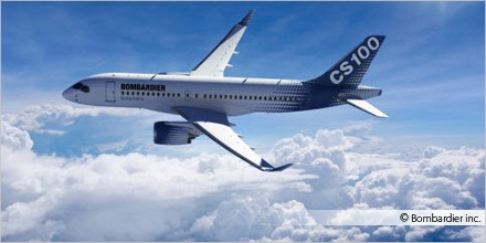 Photo of a CS100 airplane, courtesy of Bombardier inc.