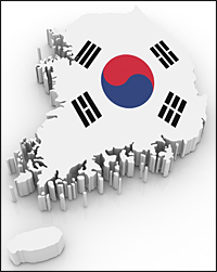 Illustration of the South Korean map and flag