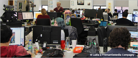 Photo of employees at the Ludia studio