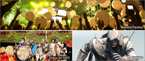 Images : Moment Factory (Arcade Fire), Cirque du soleil (Love) and Ubisoft (Assassin's Creed)