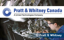 Picture of a man looking at an engine. Logo - Pratt and Whitney Canada.