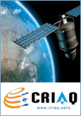 Photo of a satellite orbiting the Earth and the logo, courtesy of the Consortium for Research and Innovation in Aerospace in Québec (CRIAQ)