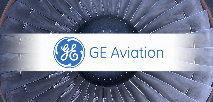 Image of GE Aviation's logo and aircraft engine in the background