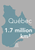 "Map of Québec indicating ""1.7 million square kilometres"""