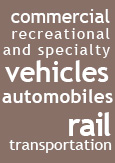"An illustration reading ""Commercial, Recreational and Specialty vehicles, Automobiles and Rail Transportation"""