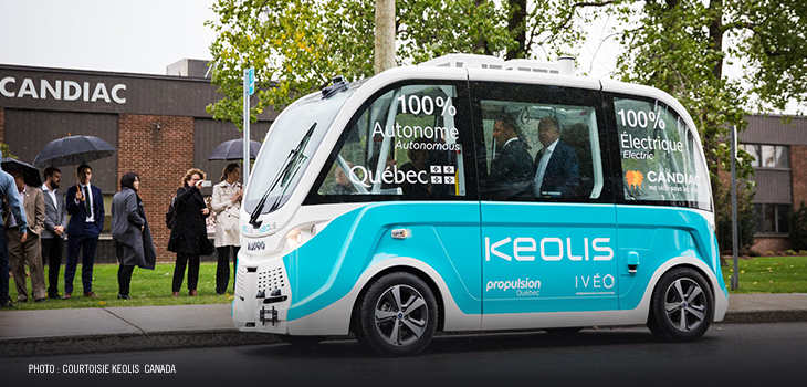 Photo of a self-driving electric minibus of the city of Candiac