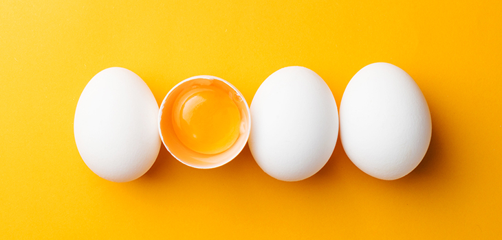 Photo of eggs on a yellow background