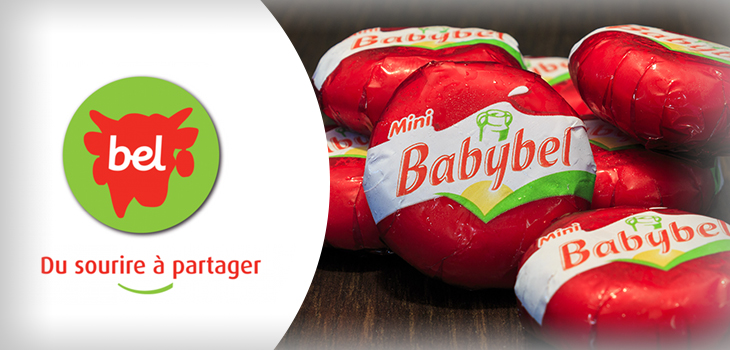 Bel Canada's logo, Mini Babybel cheese and text indicating « Du sourire à partager »
