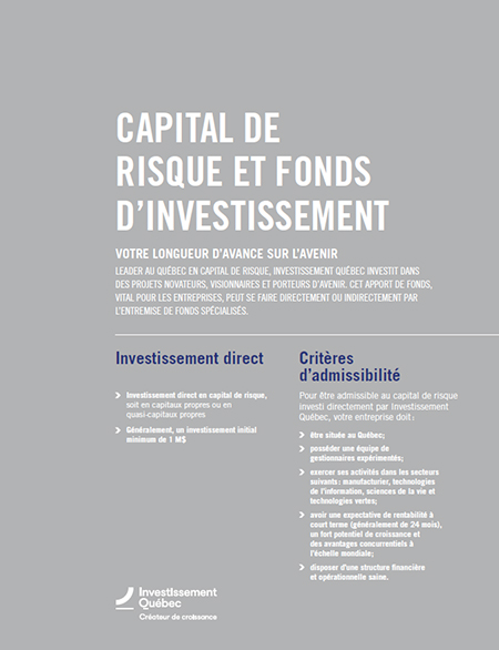 Illustration de la couverture du document Capital de risque et fonds d'investissement