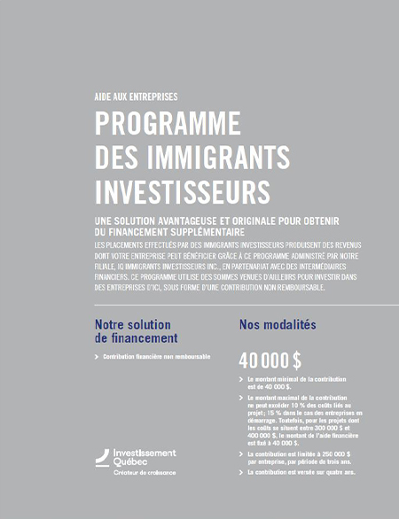 Illustration de la couverture de la publication Programme des Immigrants investisseurs