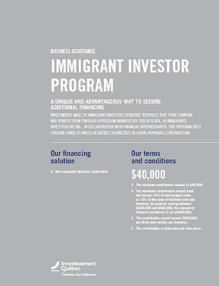 Cover of the PDF document Immigrant Investor Program