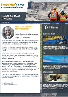 Cover of Resources Québec's newsletter